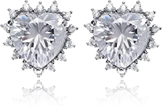 Gemstone Stud Earrings for Women - 14k Plated Geometric Cubic Zirconia Crystal CZ Birthstone Encircled by Pearls Bridal Fashion Stud Earrings for Wedding Bridesmaids Party Prom Birthday Everyday