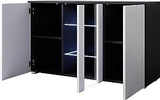 muebles bonitos Aparador Modelo Luke A1 (120x72cm) Color Negro y Blanco con Patas estándar