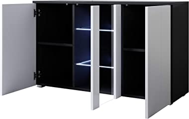 muebles bonitos Buffet modèle Luke A1 (120x72cm) Noir Blanc