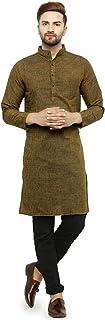 Enchanted Drapes Men's Solid Cotton Long Kurta (Mehendi, Medium)