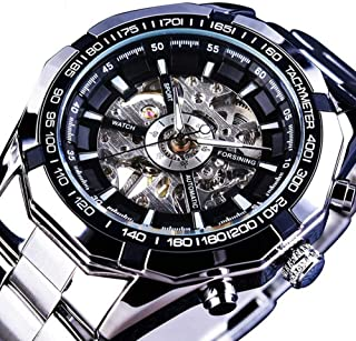 Mechanical Watch Automatic Skeleton Self-Winding Watch for Mens Stainless Steel Waterproof Luminous (A)