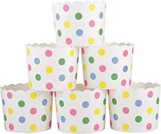 Webake Large Paper Cake Baking Cup Cupcake Muffin Cases, Set of 25 (Colorful dot)