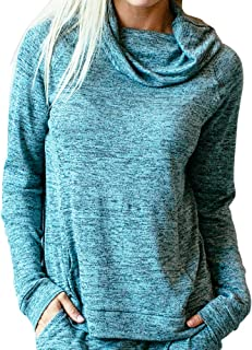 Hello Mello Carefree Threads Womens Loungewear Top with Pocket and Cowl Neck