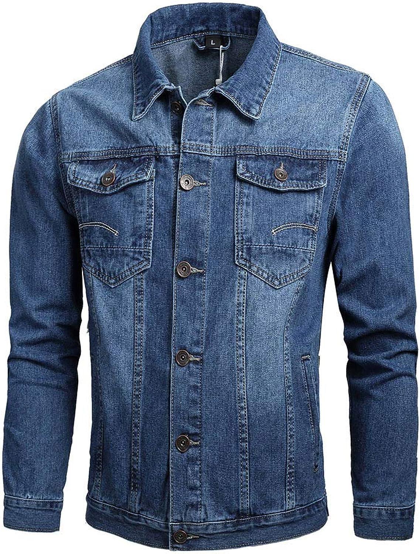 Men Jackets Dartphew Men's Winter Long Sleeve Turn-Down Collar -Denim Jacket