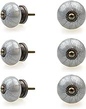 Möbelknopp möbelknopp möbelhandtag set om 6 111GN lökmönster mörkgrå – jay knapp keramik porslin handmålade vintage möbelk...