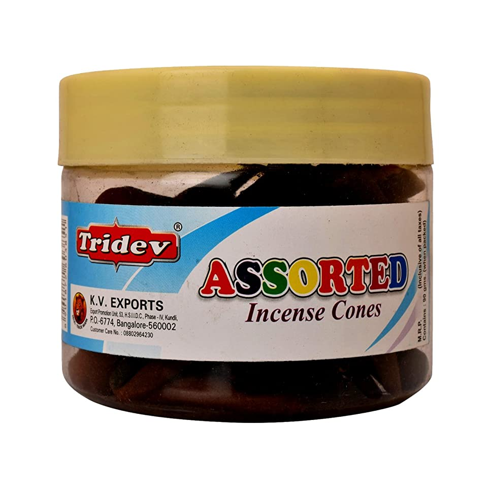 調査広げる注釈Tridev Assorted Incense Cones Jar 90グラムパック