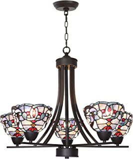 BONLICHT Tiffany Style Stained Glass Chandeliers 5 Light Antique Victorian Ceiling Pendant Fixtures Hanging 7-Inch Art Glass Shade,Oil Rubbed Bronze Pendant Lighting for Dining Room Restaurant Bar