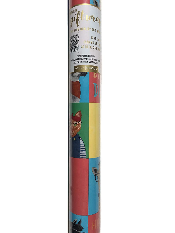 Design Focus Continuous Premium Gift Wrap Roll, Hipster Animals (Cat-Giraffe-Llama)
