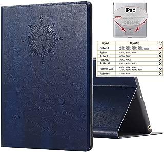iPad 2 3 4 Case Like a Book Cover, Miniko(TM) iPad 2 3 4 Case Modern Vintage Premium PU Leather Smart Retro Book Cover with Magnet Design Flip Case with Auto Sleep/Wake up Dark Blue