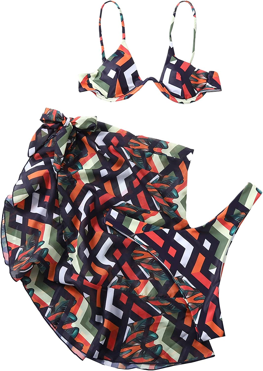 SOLY HUX Women's Spaghetti Strap Bikini Bathing Suits with Cover Up Beach Skirt 3 Piece Swimsuits Geometric Print S