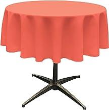 "LA Linen Polyester Poplin Round Tablecloth, 51"", Coral"