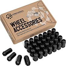 32pcs Black Bulge Lug Nuts - Metric 14x1.5 Threads - Conical Cone Taper Acorn Seat Closed End Long Extended - 1.8 inch Length - Installs with 19mm or 3/4 inch Hex Socket - for 8-Lug Wheels