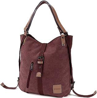 JOSEKO Canvas Tasche, Damen Rucksack Handtasche Vintage Umhängentasche Anti Diebstahl Hobotasche für Alltag Büro Schule Ausflug Einkauf Lila Kaffee