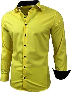 Baxboy - Camisa de manga larga para hombre, de corte ajustado, fácil de planchar, para trajes, trabajo, bodas, tiempo libr...