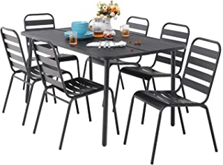 MF 7 Piece Metal Outdoor Patio Dining Bistro Sets with 59