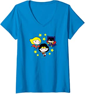 Womens Justice League Girl Power Chibi V-Neck T-Shirt
