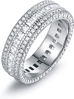 Barzel 18k Gold, Rose Gold, White Gold Plated 5 Row Cubic Zirconia Wide Band Statement Eternity Band