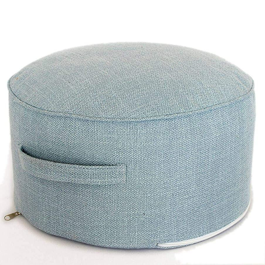 自分のために解体する災害フットスツール リネン生地 畳布団 取り外し可能で洗える布製スツール付きの北欧のミニマリスト-水色