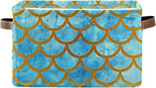 Kelekey Watercolor Fish Mermaid Scales Large Storage Basket Collapsible Storage Bin Organizer Cube Laundry Hamper for Clot...