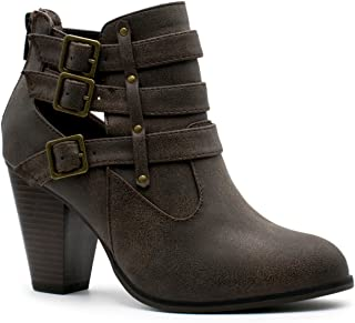 Premier Standard - Women's Buckle Strap Block Heel Ankle Booties, TPS Booties-26Alimac Brown Size 7