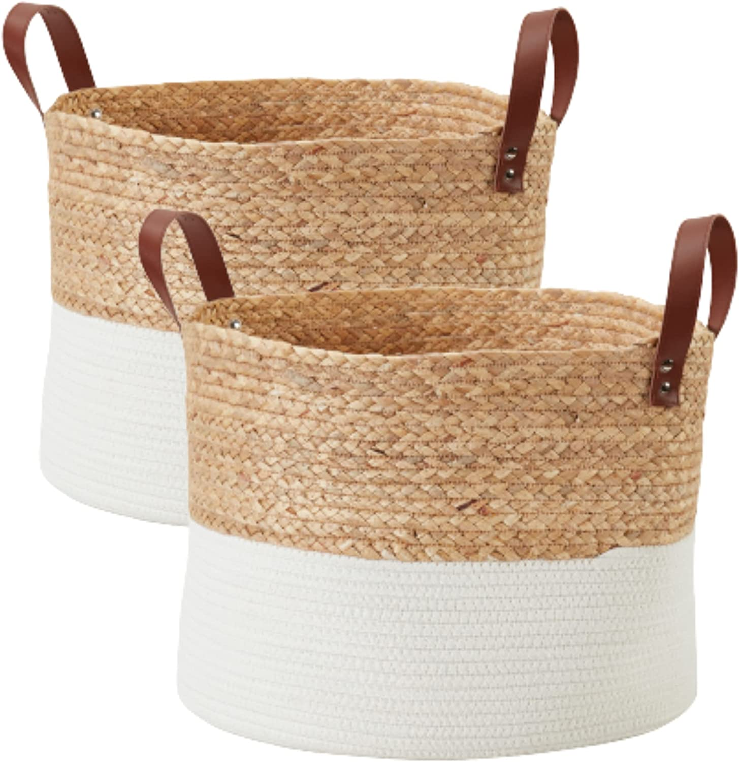 DECOMOMO Large security 2pc Cotton Rope New sales Sto Basket Natural Woven Wicker