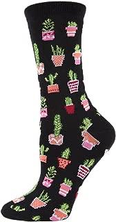 Potted Cacti Bamboo Crew Socks | Women's Fun Novelty Socks