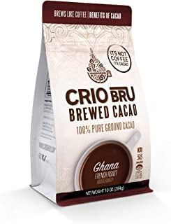 Crio Bru Ghana French Roast 10 oz Bag | Natural Healthy Brewed Cacao Drink | Great Substitute to Herbal Tea and Coffee | 9...
