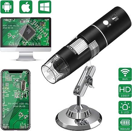 Nero Uscita USB Illuminazione 8 LED Miscroscopio per Windows & Mac PC SD MoKo Microscopio Digitale Schermo LCD TFT da 4,3 Pollici,Alta Risoluzione 2048P con Ingrandimento 50x a 1000x