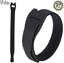 """50 Reusable Cable Fastening Ties - 6"""" x 0.7"""" Black Nylon Straps from Vila - Durable, Versatile and Flexible - Keeps Wires Neat and Organized - Perfect for Cell Phone Charging Cables & TV cords"""