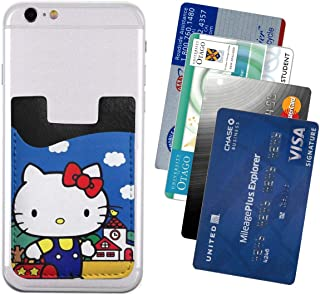 Ultra-Thin Hello Kitty Phone Card Holder PU Phone Back Close-Fitting Card Package 3M Adhesive with Credit Card Bank Card ID Card for iPhone, Samsung Any Smart Phone 2.43.5in
