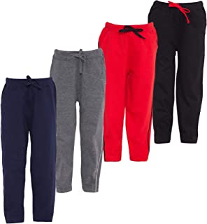AmericanElm Pack of 4 Boy's Cotton Track Pants, Stylish Lowers for Kids