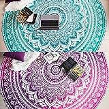 Folkulture - Juego de 2 tapices redondos de mandala, estilo hippie, estilo indio, mandala, redondo, para picnic, hippy, esparcir de algodón boho, gitano, toalla de playa, meditación, esterilla...