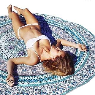 Usstore Summer Cover Up Bohemian Round Hippie Beach Throw Pool Home Beach Cover Up Dress Swimwear Bathing Suit Kimono Tunic Round Yoga Mat Tassel Fringing (A)