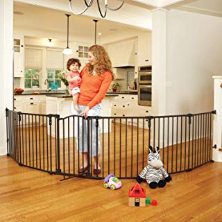 """North States 3-in-1 Arched Décor Metal Superyard - 144"""" Long Play Yard: Create an extra-wide gate or a play yard. Hardware mount or freestanding. 6 panels, 10 sq.ft. enclosure (30"""" tall, Matte bronze)"""