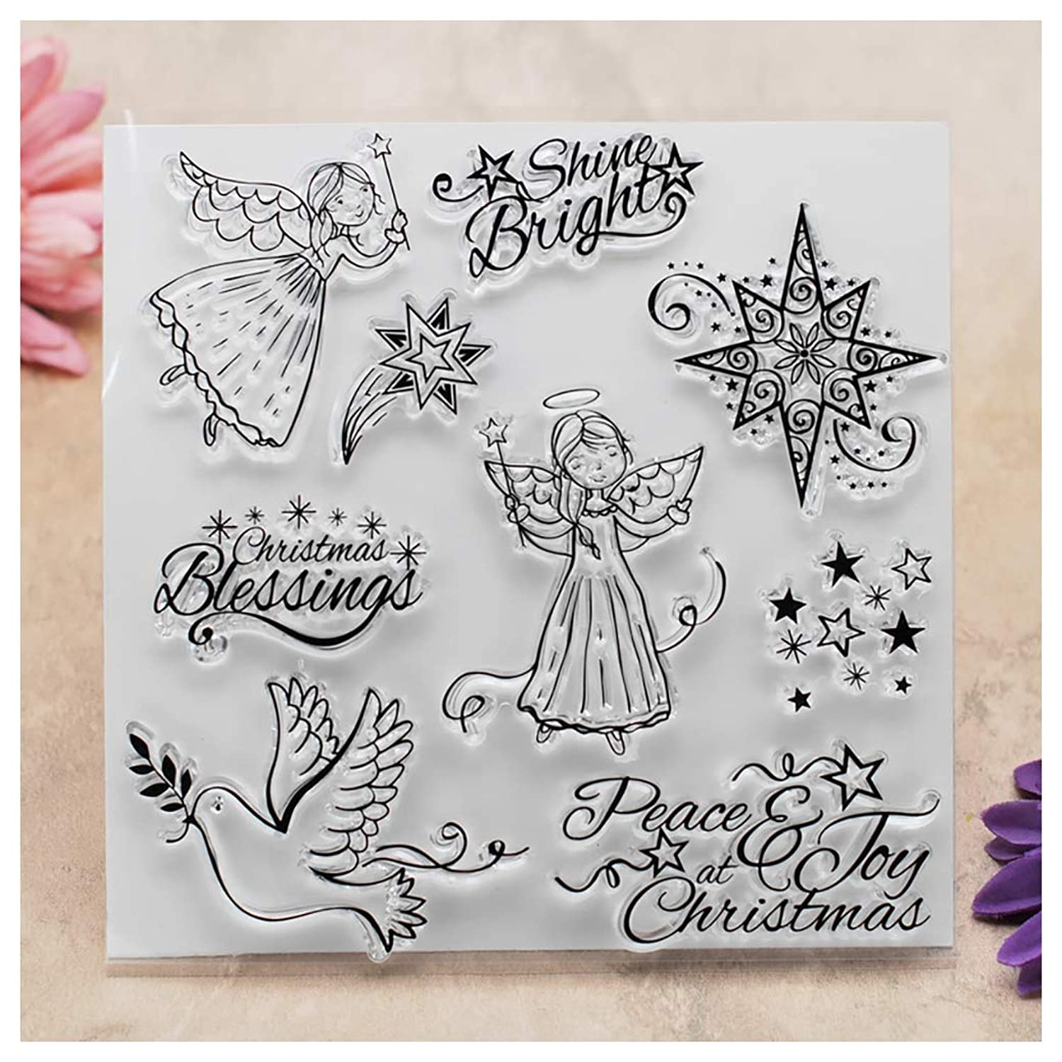Kwan Crafts Christmas Peace Joy Angel Stars Clear Stamps for Card Making Decoration and DIY Scrapbooking