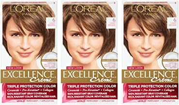 L'Oreal Paris Excellence Creme, 6 Light Brown, Pack of 3, (Packaging May Vary)