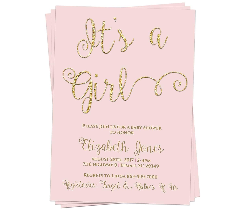 Luxury goods Baby Girl Gold Shower Customizable Invitation