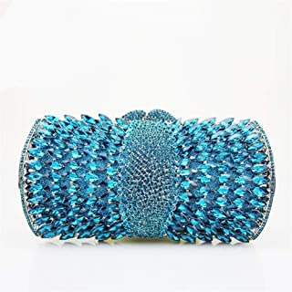 Redland Art Women's Fashion Sparkly Rhinestone Mini Clutch Bag Wristlet Evening Handbag Catching Purse Bag for Wedding Party (Color : Blue)