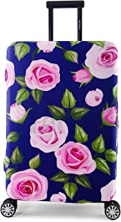 Periea Elasticated Suitcase Luggage Cover - 13 Different Designs - Small, Medium or Large (Purple with Pink Roses, Medium)
