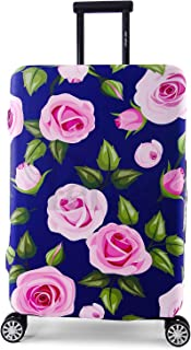 Periea Elasticated Suitcase Luggage Cover - 13 Different Designs - Small, Medium or Large (Purple with Pink Roses, Large)