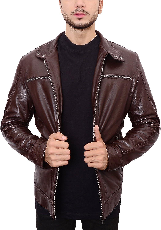 Abbraci Men's Stand up half Collar Causal Max 67% OFF Biker Br Fit Dark Moto Slim