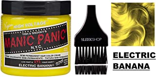 MANIC PANIC CLASSIC Semi-Permanent HAIR COLOR Cream N.Y.C. (w/Sleek Tint Brush) Tish & Snooky's VEGAN High Voltage Haircolor Dye 4 oz / 118 ml (Electric Banana)