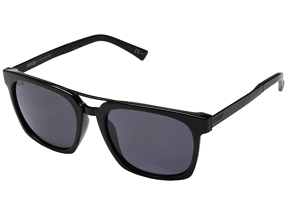 VonZipper Plimpton Polar (Black Gloss Satin/Wild Vintage Grey Polar) Fashion Sunglasses