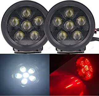 18W 3.5 Inch Round Led Work Lights White and Red Atmosphere Off-Road Driving Pod Spotlight Fog Lights for Jeep 4x4 SUV ATV...