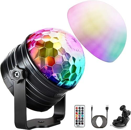 Boule Disco de Commande Vocale, OMERIL Boule à Facette Dimmable 7 Couleurs Lampe de Scène Contrôle Automatique, Lampe...