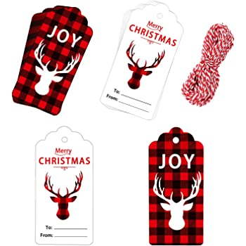 Whaline 100 Pieces Christmas Paper Tag Gift Tag Reindeer Design Hang Labels With 30 Meters Twine For Diy And Crafts Christmas Holiday Gift Wrap And Package Name Card Amazon Co Uk Office Products