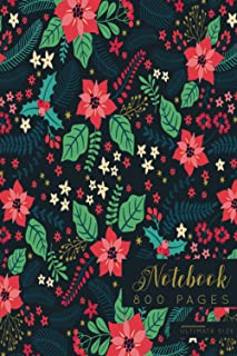 NOTEBOOK 800 PAGES ULTIMATE SIZE: Simple, abstract and elegant floral design. Journal for all writing work for students, t...