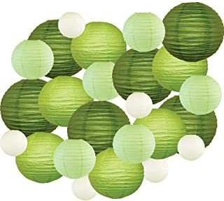 Just Artifacts Decorative Round Chinese Paper Lanterns 24pcs Assorted Sizes & Colors (Color: Greens)