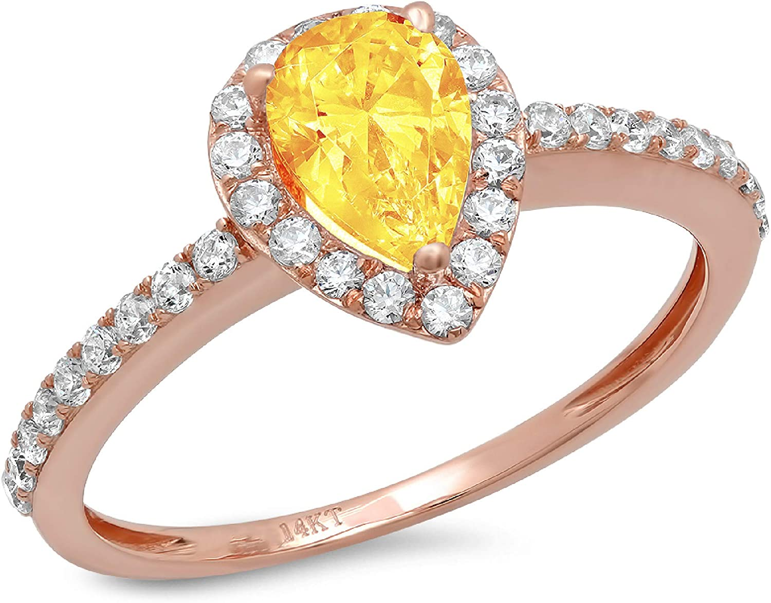 1.16ct Brilliant Pear Cut Solitaire with accent Natural Yellow Citrine Gemstone Ideal VVS1 Engagement Promise Statement Anniversary Bridal Wedding ring Real Solid 14k Pink Rose Gold