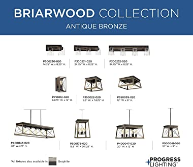 Progress Lighting P400048-020 Briarwood Collection Farmhouse Linear Chandelier, Five Light, Antique Bronze